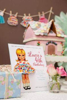 Lucy's Vintage Paper Doll 4th Birthday Party | CatchMyParty.com