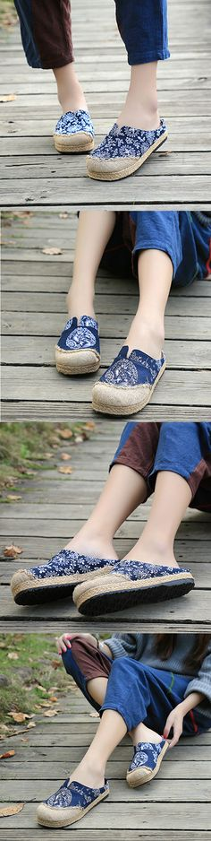 US$18.88 Dargon Flower Print Flax Open Heel Color Match National Wind Slip On Flat Shoes