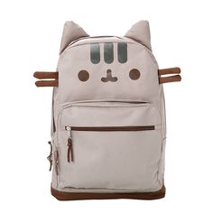 """<P>Be the envy of every cat lover with Pusheen's latest cat faced backpack. Pusheen's signature chubby gray cat has been screen printed on the front of the bag with whiskers and padded 3D ears on top. The two toned tan and brown backpack features two padded adjustable straps and padded back, along with one medium and one small zippered compartment. </P><P><B>Cat Face Backpack</B> by <B>Pusheen </B></P><UL><LI><B>Online only item</B> <LI>12""""L x 5""""H x 16""""W </LI></UL>"""