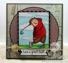 Jimmy Golfer. Sells for 9.99. no words. Sold separately are the other items used in the examples. Made by Art Impressions Rubber stamps. You can purchase all items in my ebay store: Pat's Rubber Stamps & Scrapbooks, Click on the picture & see the listing , or call me 423-357-4334 with order, We take PayPal. You get FREE SHIPPING ON PHONE ORDERS of $30.00 or more. If it says sold I have more. Use my search engine to find the items you are interested in