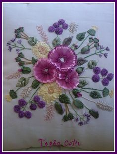 Wonderful Ribbon Embroidery Flowers by Hand Ideas. Enchanting Ribbon Embroidery Flowers by Hand Ideas. Hardanger Embroidery, Silk Ribbon Embroidery, Cross Stitch Embroidery, Hand Embroidery, Eyebrow Embroidery, Japanese Embroidery, Floral Embroidery, Brazilian Embroidery Stitches, Types Of Embroidery