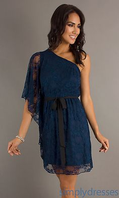 Karla Ashley Like? These dresses are totally reasonable! Short One Shoulder Navy Blue Lace Dress at SimplyDresses.com