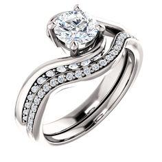 14k white gold diamond engagement ring and matching wedding band #modernbymegeancontemporaryjewelry