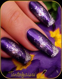 Nail art design, purple & silver