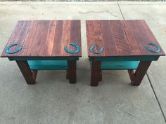 Oak end tables with engraved horse shoes made out of reclaimed pallets. $199 each made by Country Cowgirl's Creations