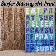 Surfer decor, free printable surf art Garner thought you would like this Surfer Decor, Planners, Surfer Style, Subway Art, Surf Art, Decorating Blogs, Printable Art, Printables, Diy Art