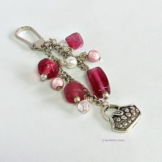 Handbag Charm with bag charm Raspberry Pink by SeaWitchsCavern