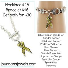 Show your support with this yellow ribbon necklace and bracelet! $30 #yellow #ribbon #yellowribbon #necklace #bracelet #cancer #awareness #childhoodcancer #parkinsons #disease #liver #suicideprevention #spinabifida