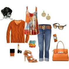 Fun fall outfit that could be paired with brown pants for work.
