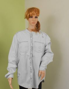 Denim Blouse   Blair 220 Hickory Denim Blouse by VintageElations