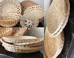 Simple decorations with wicker plate holders and bowls & Repurpose: wicker plate holders (ReFab Diaries)   Pinterest   Plate ...