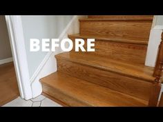 Paint Your Stairs and Install a Stair Runner - DIY Tutorial - Thrift Diving Painting Wooden Stairs, Painted Stairs, Wood Stairs, Home Renovation, Home Remodeling, Stair Paneling, Stair Runner Installation, Narrow Hallway Decorating, Staircase Makeover