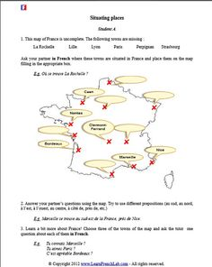 French Teacher, Teaching French, Free Printable Worksheets, Free Printables, Oral Communication Skills, French Worksheets, French Language Learning, Thing 1, France Map