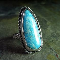 I WANT!  Handmade Turquoise Ring in Sterling Silver  by LavenderCottage, $89.00