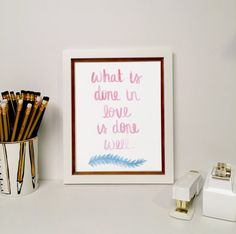 Do It With Love Printable // Van Gogh Quote // Printable Art // Downloadable PDF // Printable for Her // Inspirational Quote // Watercolor