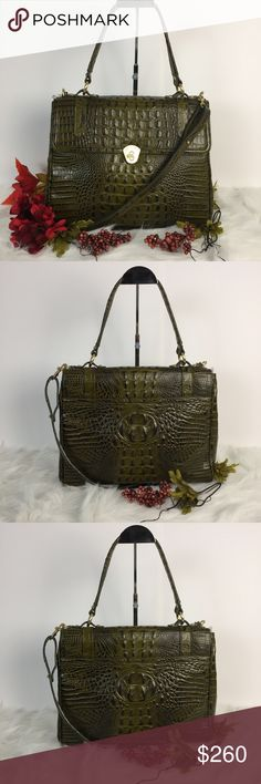 BRAHMIN SELIA IN FERN This bag is so pretty. It just screams fall. It's a larger bag than it looks. The color is called fern and is a really nice green. It comes with a dust bag and shoulder strap. Brahmin Bags Satchels