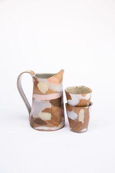 Pink and yellow porcelain Inlay camo Pitcher Set #ceramics