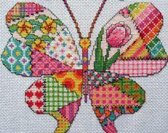 Púrpura mosaico mariposa Cross stitch patrón por Chartsandstuff