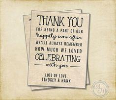 Wedding Thank You Note, Welcome Bag, Wedding Favor, Hotel Gift Bag, Burlap Wedding Rustic Wedding DIY Vintage Wedding (Printable Download)