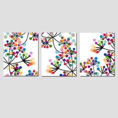 this artist has great ideas/not ment to copy//Modern Wall Art  Abstract Botanical Floral Trio  Set of by Tessyla, $55.00