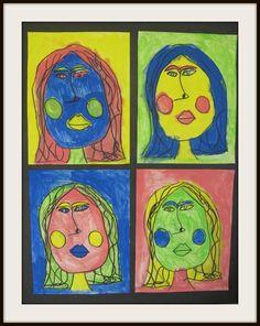 Pop Art Self Portraits for kindergarteners