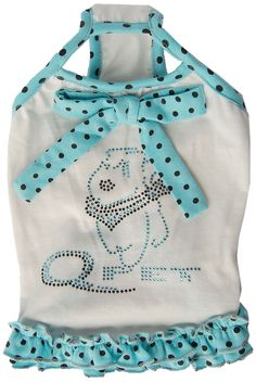 Anima White/Blue or White/Pink with Black Polka Dot Trim Sundress (Large, Medium, Small, Extra Small, 2XS) ** Insider's special review you can't miss. Read more  : dog clothes