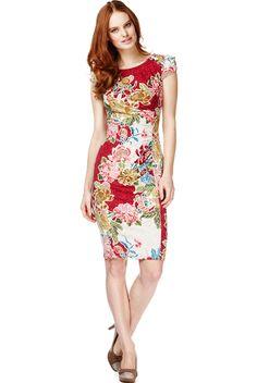 1acb27162 Vestido recto con estampado floral y cuello abotonado
