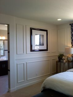 displaying artwork within moulding wall Master Bedroom Design, Home Bedroom, Bedroom Wall, Moulding Wall, Wainscoting, Guest Bedrooms, Wall Treatments, Trim Work, Home Remodeling
