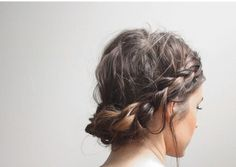 Messy braid wrapped around the head - ideal for those of you who don't have hair long enough to take it the whole way.