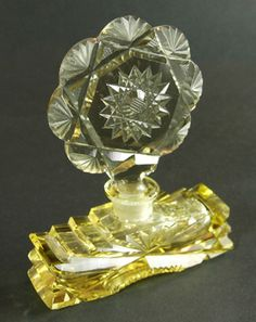 *VINTAGE CUT CRYSTAL CZECHOSLOVAKIA ~ signed Perfume Bottle, Art Deco Czech yellow glass perfume bottle, c. 1920's -1930's, acid etched, made in czechoslovakia in an oval on the bottom