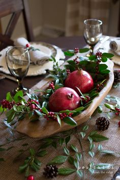 Natural Christmas centerpiece with pomegranates