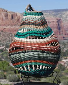 """Sedona Sandstorm"" - Basketry by Betty Kaufmann. Paper Weaving, Weaving Art, Weaving Patterns, Newspaper Basket, Newspaper Crafts, Willow Weaving, Basket Weaving, Pine Needle Baskets, Art Diy"