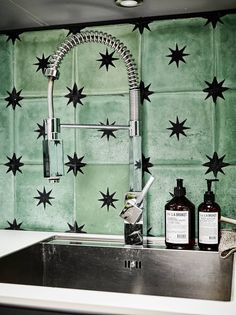 Green tile for gray apartment