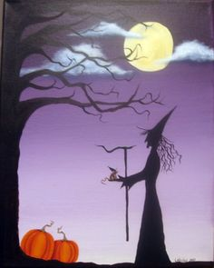 pictures of halloween paintings | Hand painted in acrylics on an 11 x 14 stretched canvas, stands ...