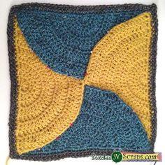 Free Pattern - Contours Square - Stitches 'N' Scraps Chrochet, Knit Crochet, Crochet Afghans, Handmade Crafts, Diy Crafts, Crochet Squares, Granny Squares, Contours, Crochet Patterns