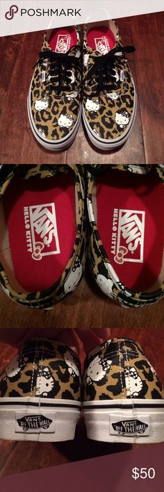 BRAND NEW!!! Hello Kitty vans NWOT Brand New Never Worn!!! ADORABLE Limited Edition leopard print Hello Kitty vans. Women's size 8.5 Vans Shoes Sneakers