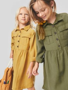 Winter Dress Outfits, Girl Outfits, Zara, Linen Dresses, Dresses With Sleeves, Minimal Wardrobe, Girls Wear, Sewing Clothes, Kids Fashion