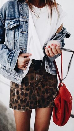 leopard skirt & denim jacket