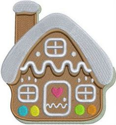 Gingerbread house machine embroidery design. Machine embroidery design. www.embroideres.com