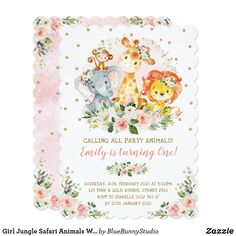 Purple Gold Girl Jungle Safari Baby Shower Invitation This feminine design features a group of adorable jungle animals surrounded by gorgeous watercolor purple roses and gold glitter confetti 1st Birthday Invitations, Pink Invitations, Floral Invitation, Baby Shower Invitations, Invites, Jungle Safari, Safari Animals, Wild Animals, Animal Birthday