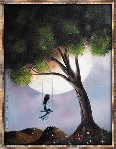 fille - balançoire - clair de lune - image animée                              …