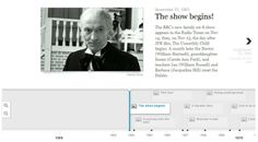 Doctor Who timeline: through the regenerations Doctor Who Timeline, William Hartnell, Timeline Design, Sci Fi Shows, Data Visualization, Jfk, Bbc News, Bow Ties, Multimedia