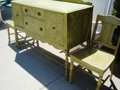 Green Distressed Buffet, Table, Chairs