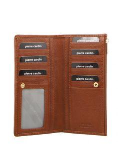 Pierre Cardin Womens RFID Proteced Italian Leather Slim Purse Wallet - Tan -PC9130