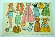 Recortable muñeca mariquita Bombón Constantina Editorial Bruguera 1959 16,5 cm x 12 cm