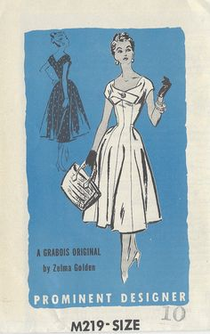 1950s Vintage Sewing Pattern B28 DRESS (R854) By Zelma Golden Prominent Designer M219