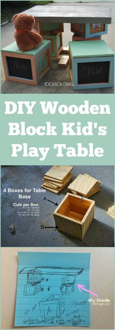 DIY wooden block kid's play table ~ the seating squares can also be used for storage!