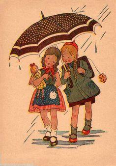 """Veronika Fritsche ,artist....Vintage Children's Book Illustration """"Children in the rain"""""""