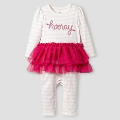 Baby Girls' Striped Long-Sleeve Tutu Romper Pink - Cat & Jack Baby™ : Target