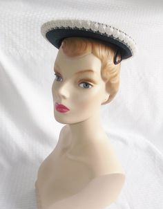 1950's Vintage Navy Blue and White Hat With by MyVintageHatShop
